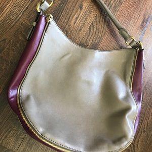 Gray & Purple J.Crew Hobo Handbag